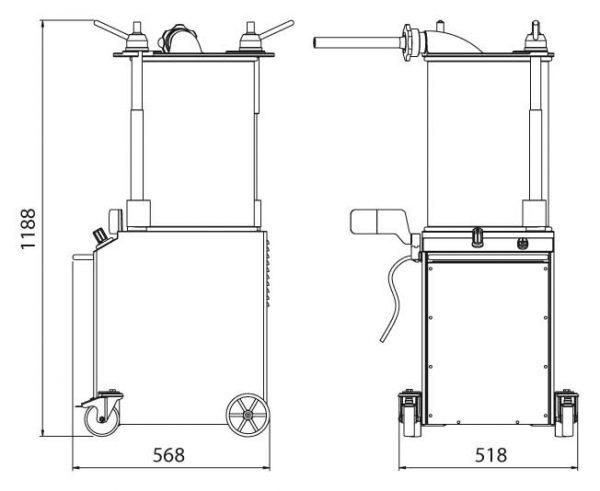 Вертикальный гидравлический шприц из нержавеющей стали для наполнения сосисок VINS32. Производитель Minerva.